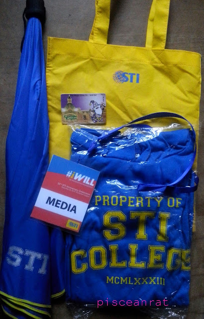 sti merchandise, umbrella, bag, jacket,