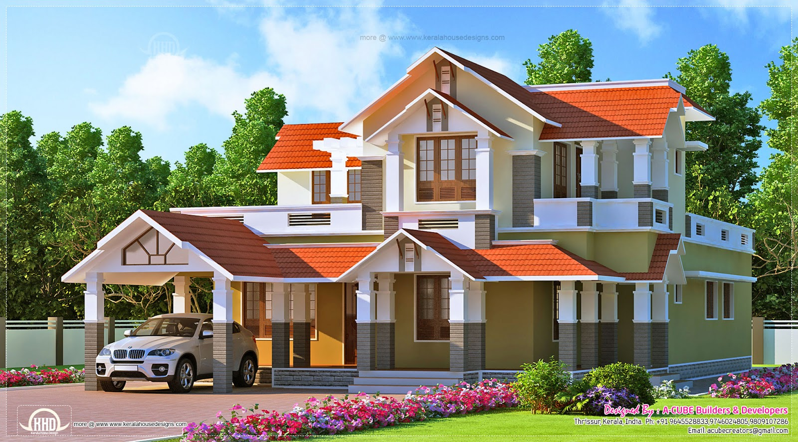 Kerala style dream home design in 2900 house for Dream house plans