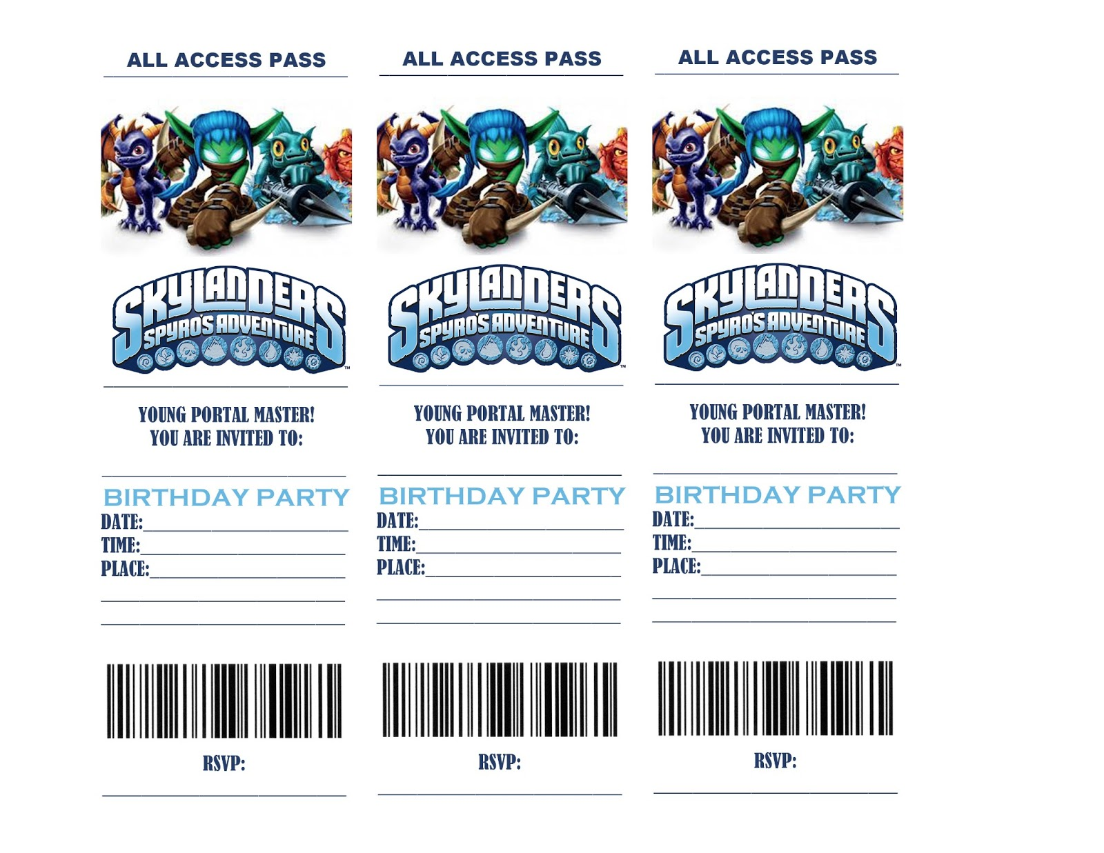 Skylander Birthday Invitations