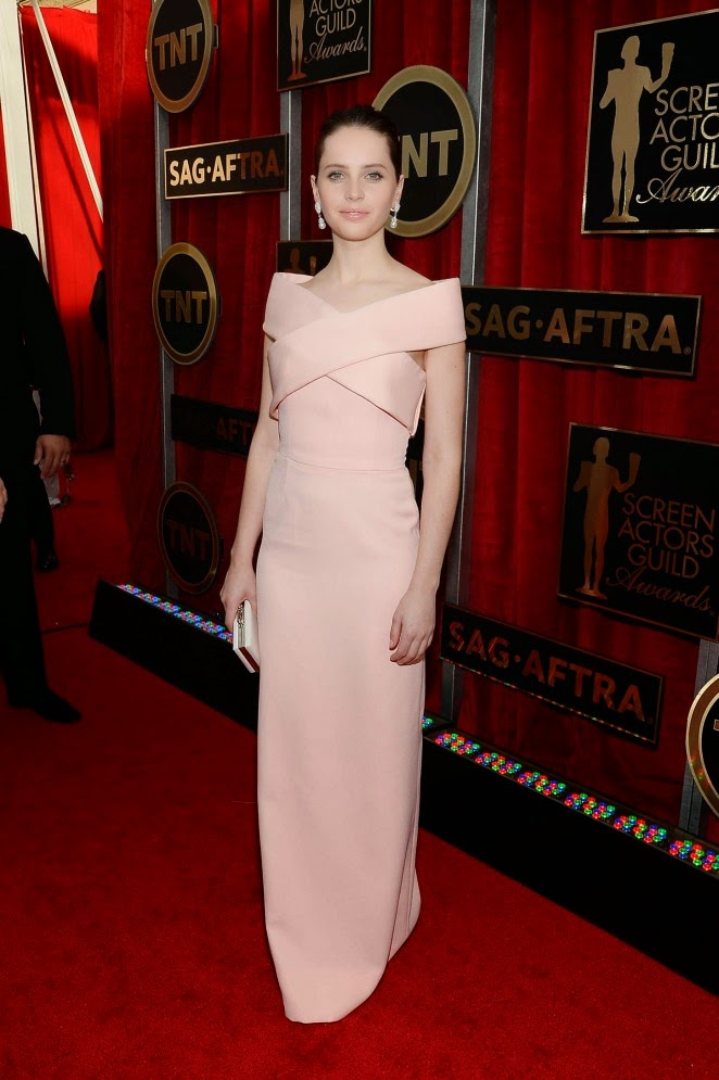Felicity Jones wears Balenciaga to the 21st Annual SAG Awards in LA