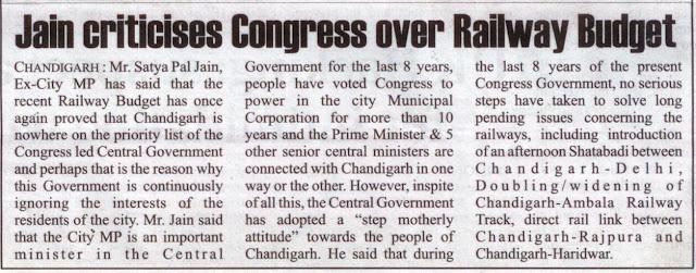 Jain criticises Congress over Railway Budget