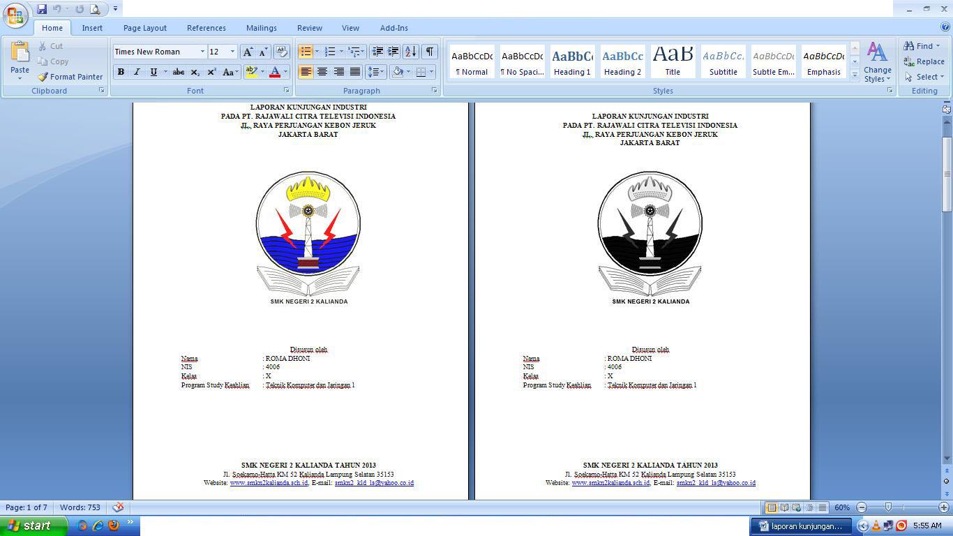 Cover Laporan Pkl Loak Info