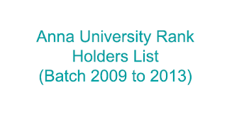 Anna University Rank Holders List 2013
