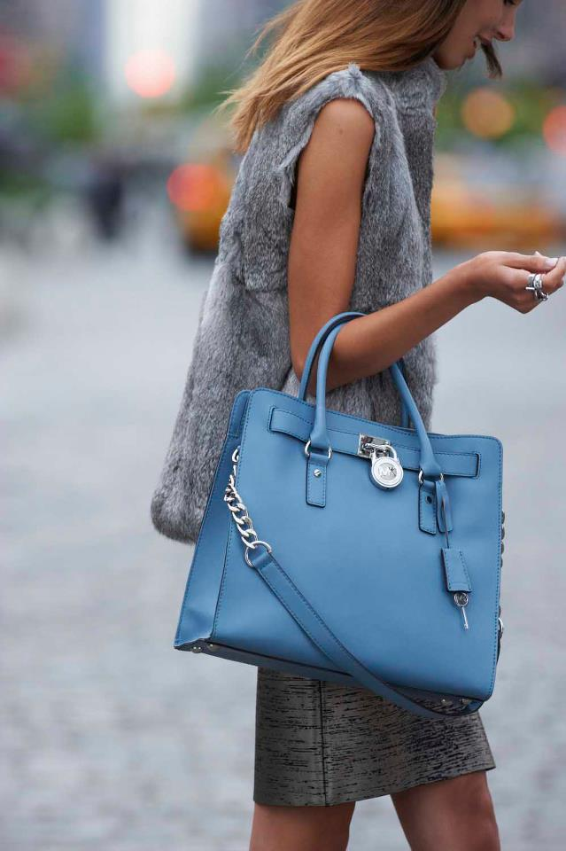 michael kors hamilton tote in surf blue pictured via michael kors on. Black Bedroom Furniture Sets. Home Design Ideas