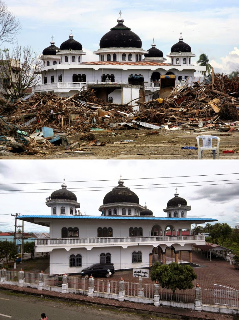 This combo shows a file photo (top) taken on Jan. 15, 2004 of houses surrounding the mosque in Meulaboh destroyed on Indonesia's Sumatra island where surrounding houses and buildings were heavily damaged and coastal villages wiped out in the aftermath of the massive Dec. 26, 2004 tsunami triggered by an earthquake, and the same mosque photographed on Nov. 30, 2014 (bottom). Indonesia will mark on Dec. 26, 2014 the 10th year anniversary of the deadly tsunami which killed more than 170,000 people in Aceh, and tens of thousands of others in other countries around the Indian Ocean. (AFP Photo /Joel Saget (top) and Bay Ismoyo (bottom))