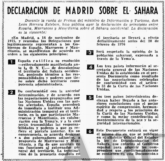 Declaración de Madrid del 14/11/1975 y Resolución 1121 de la ONU del 4 de diciembre 1975