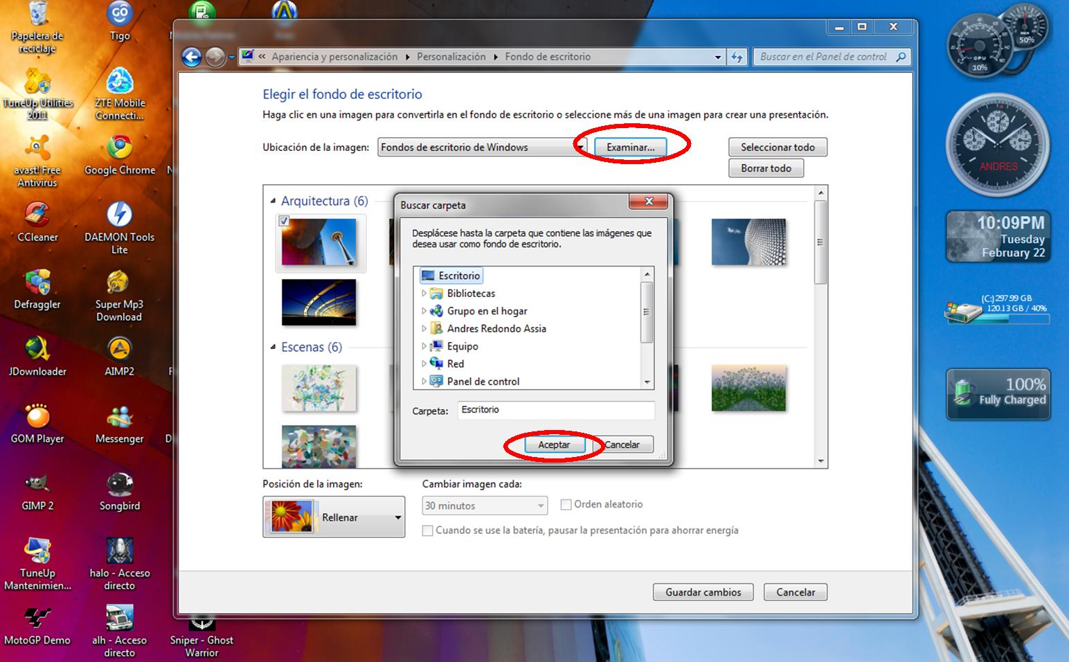 Andresito cambiar papel tapiz en windows 7 for Tapiz escritorio