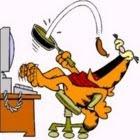 Garfield comendo na frente do computador.