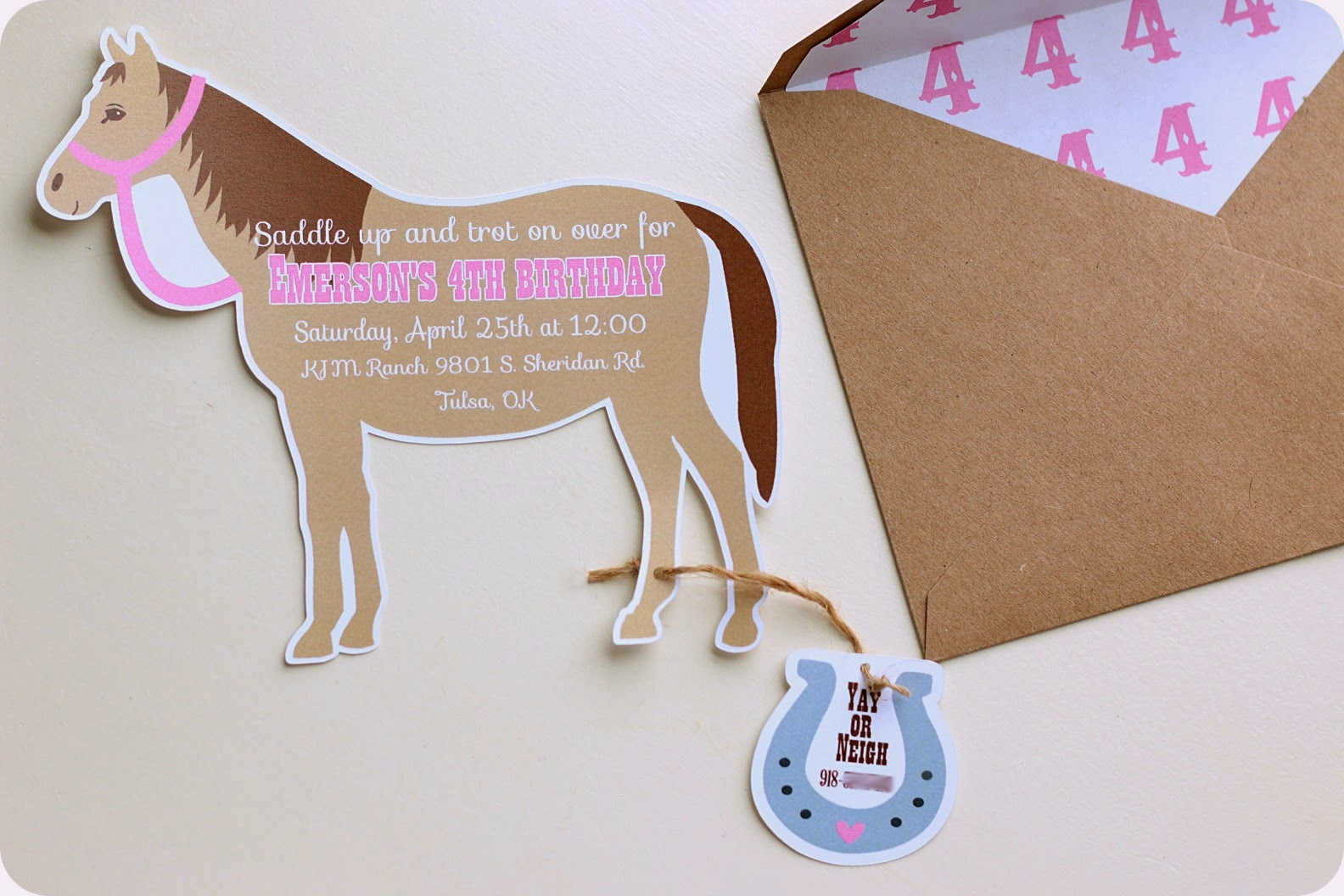 keeping my cents ¢¢¢ cowgirl pony party invitations, Party invitations