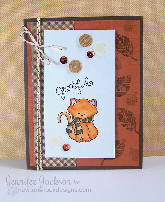 Fall cat with Scarf and leaves by Jennifer Jackson | Newton's Nook Designs | Newton's Holiday Mischief Stamp set