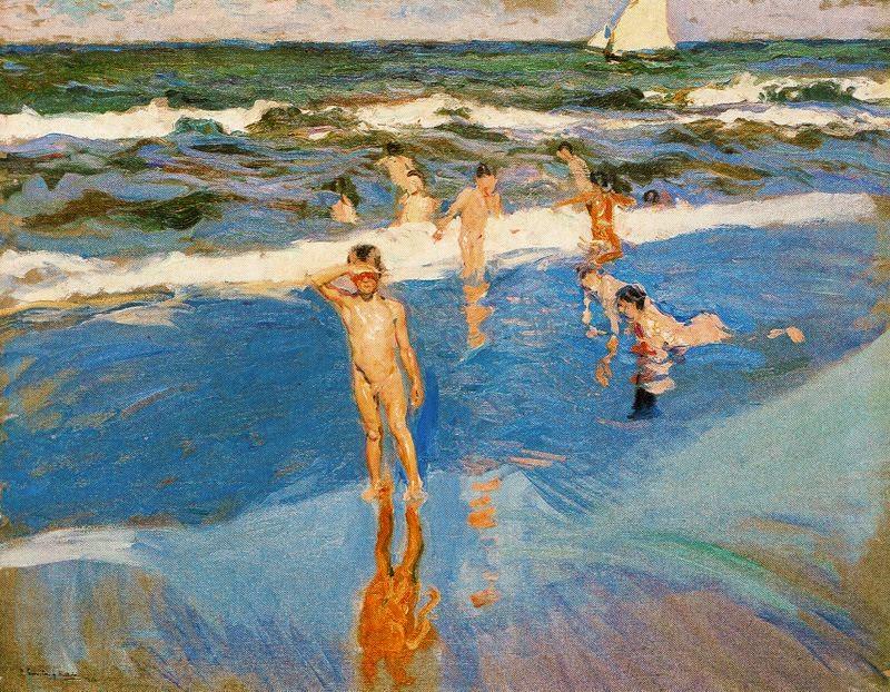 Niños en la orilla del mar, oleo sobre lienzo, Joaquín Sorolla