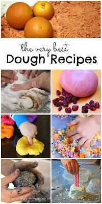 50+ incredible dough recipes for sensory play.  Raid your pantry, because you probably have everything you need to try out some new recipes for play!