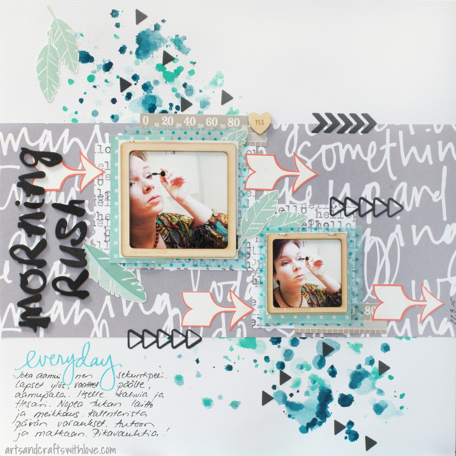 Scrapbooking layout using CSI #157: Everyday morning rush