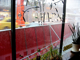 window seat at a diner on a rainy day