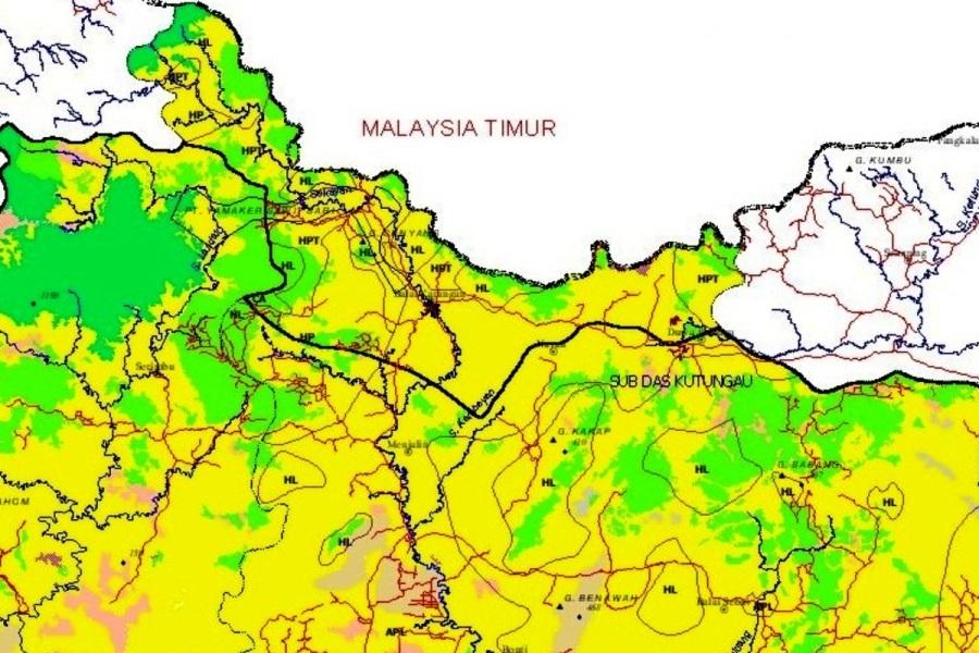 Peta perbatasan Kabupaten Sanggau - Malaysia Timur