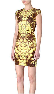 Coronation Street MCQ Alexander McQueen Yellow Brown Graphic Rose Petal Floral Print Dress