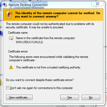 Remote Desktop connection - Certificate