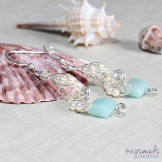 Swirl Wirewrapped Earrings, Amazonite and Swarovski Pearls Earrings by MagsBeadsCreation
