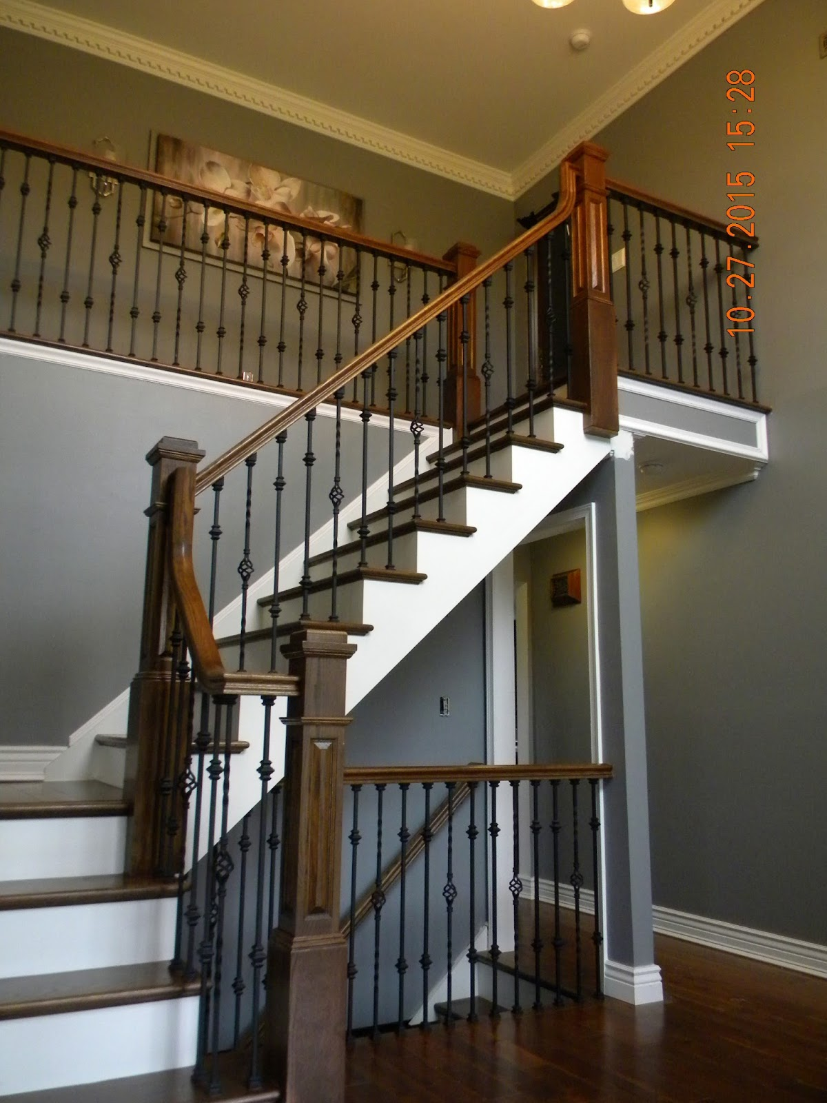 Charmant Hardwood Stair Replacement With Box Newels And Iron Balusters Medford NJ