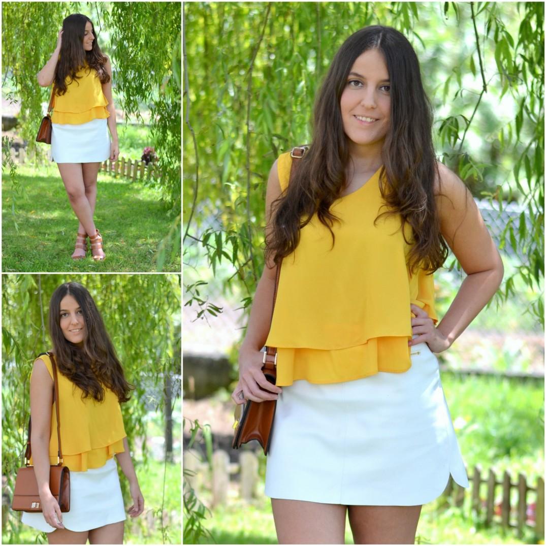 mustard blouse, blusa mostaza, white skirt, polipel skirt