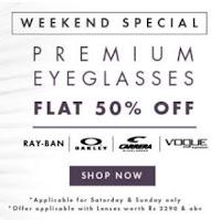 Buy Sunglasses, Eyeglassses & Contact Lenses flat 50% off  on Lenskart