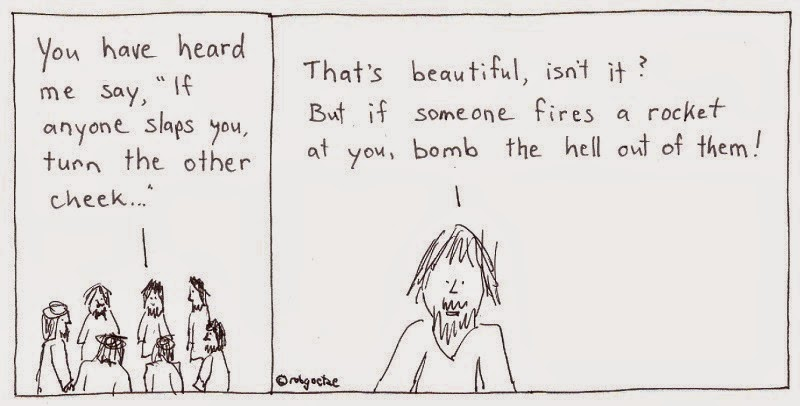 turn or bomb. cartoon by rob g