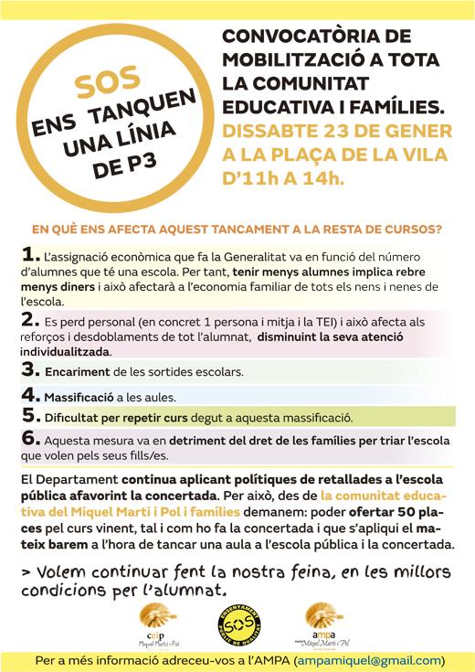No al tancament de línies de P3 públiques a Sant Feliu