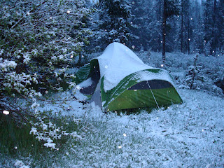 tent covered with snow
