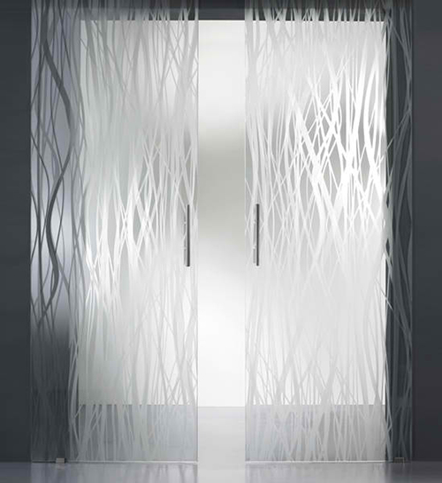 Acid etched glass doors french fashion acid etched for Etched glass doors