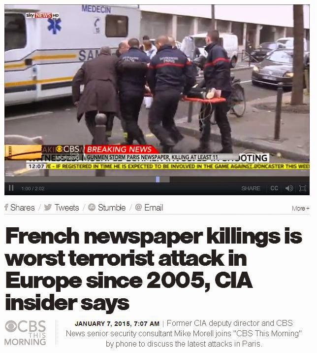 From the CBS News website, at least seven hours after it had been pointed  out that the Charlie Hebdo massacre was not the worst terror attack in Europe  since 2005.