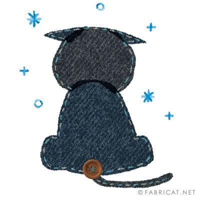 雪を見つめる猫の後ろ姿のイラスト