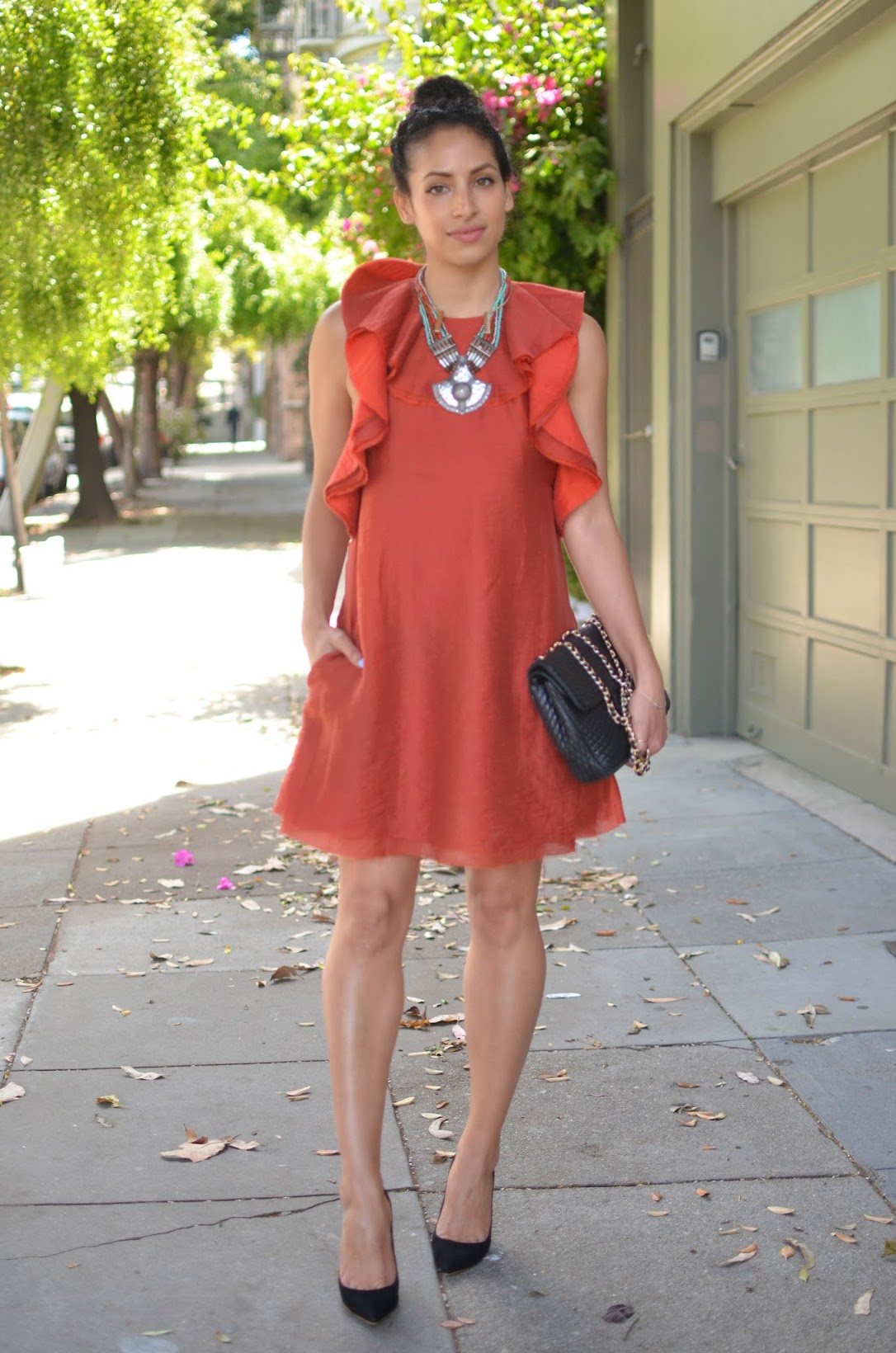 ruffle dress, orange ruffle H&M dress, conscious collection, H&M conscious collection ruffle dress, transitional dressing, autumn hues, H&M, Sophia Webster Coco Flamingo heels, Bally Chain bag