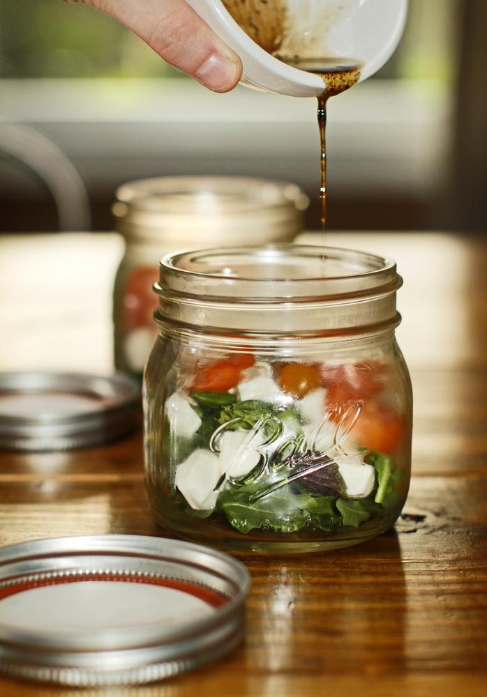 the chubby vegetarian caprese salad in a jar