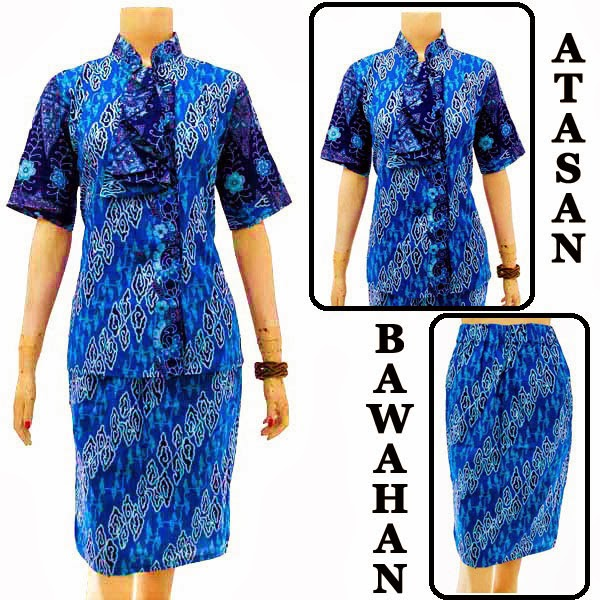 DB3760 Model Baju Dress Batik Modern Terbaru 2014