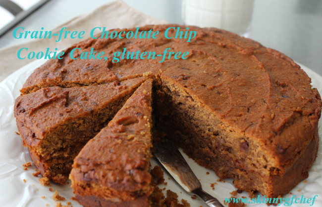 Make this grain-free and gluten-free Chocolate Chip Cookie cake easily in the food processor with healthy ingredients!