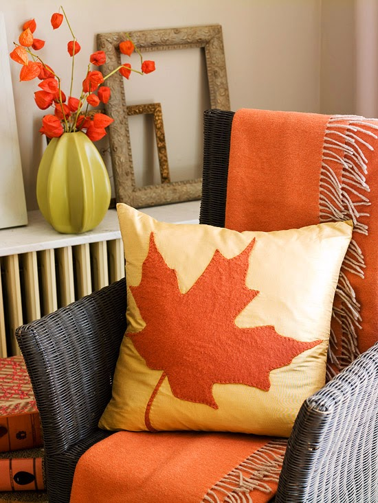 Delicieux Dress Up Your Furniture With Cozy Items In Seasonal Colors. Here, A Wicker  Chair Is Draped With A Warm Orange Throw, And A Maple Leaf Pillow Sits ...