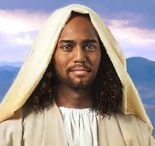 Jesus negro, preto velho, caboclo manto branco, jesus umbanda