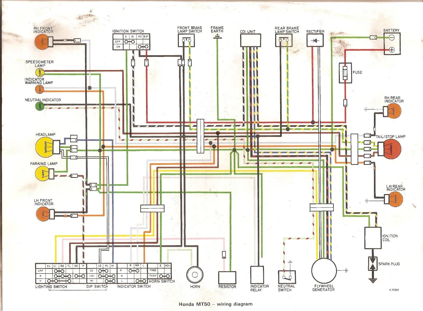 Honda Mt 50 Wiring Diagram : Hondaspace elektrisch aansluitschema mt eerste modellen