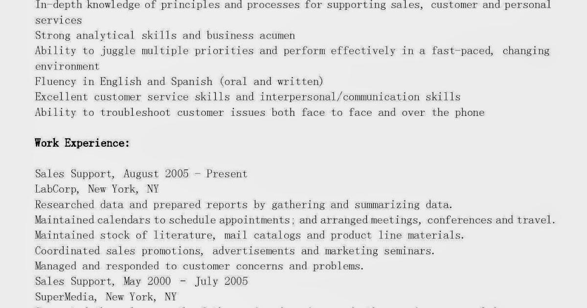 resume samples  sales support resume sample