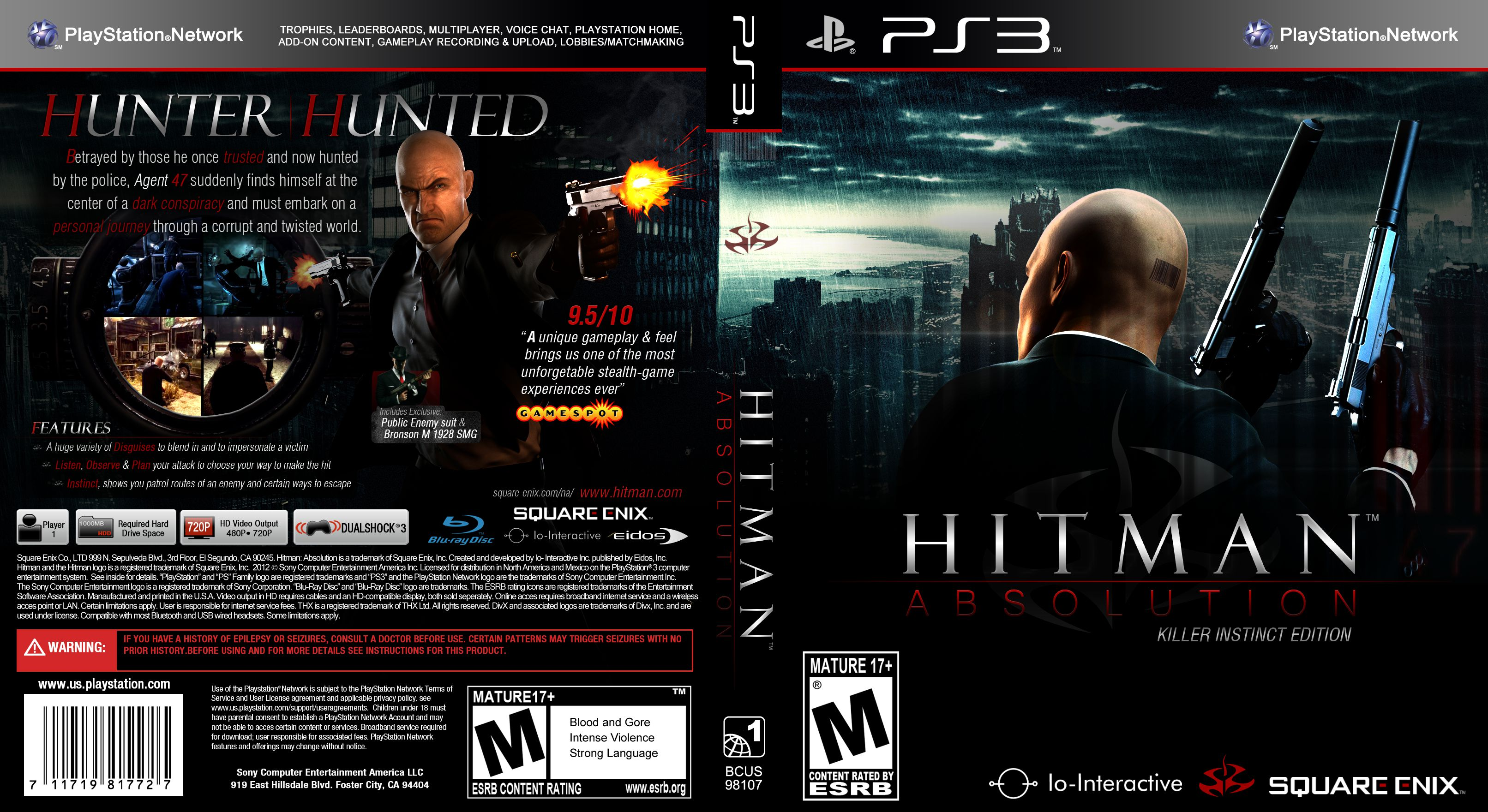 Capa Hitman Absolution Killer Instinct Edition PS3