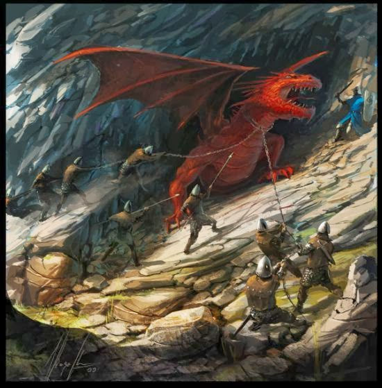 Ignacio Bazán Lazcano neisbeis deviantart illustrations card games fantasy Red dragon