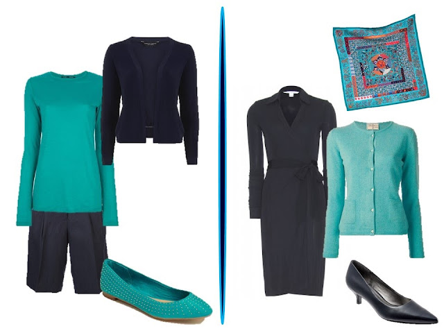 two navy and turquoise outfits - Chic Sightings
