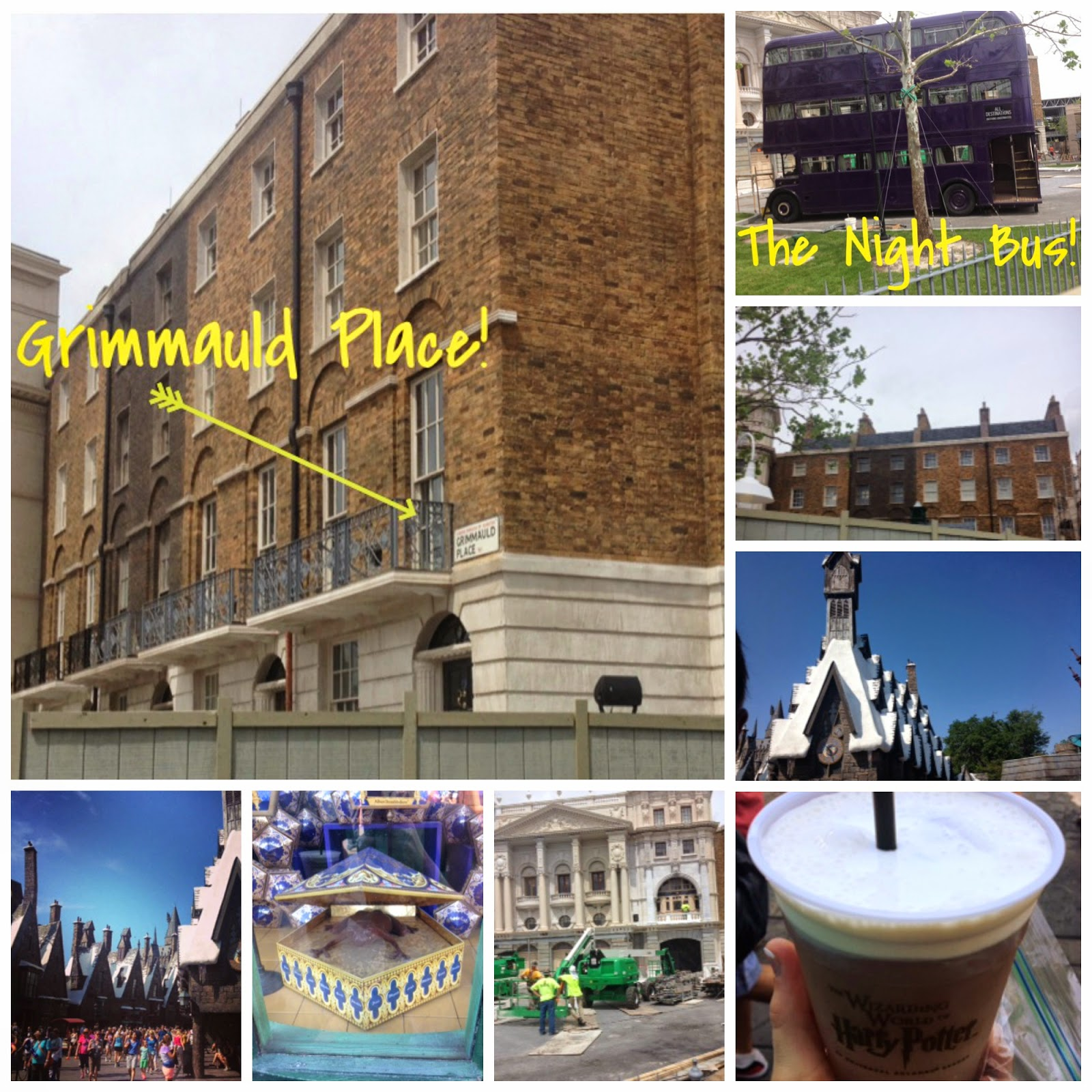 Grimmauld Place, Sirius Black House, Hogwarts, Kings Cross, Diagon Alley, Chocolate Frog, Gringotts, Butter Beer