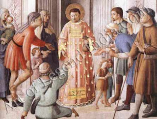 "The Great Artist Fra Angelico Painting ""St Lawrence Distributing Alms"" c.1447-49 Fresco 107"" x 81"" Nicholas V Chapel, Vatican, Rome"