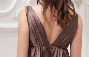 Brown Silk Cut taille empire élastique faible comme en satin robe de bal Homecoming