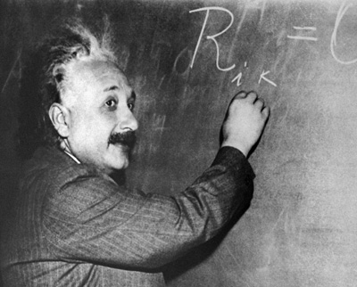 Albert Einstein lecturing at Princeton