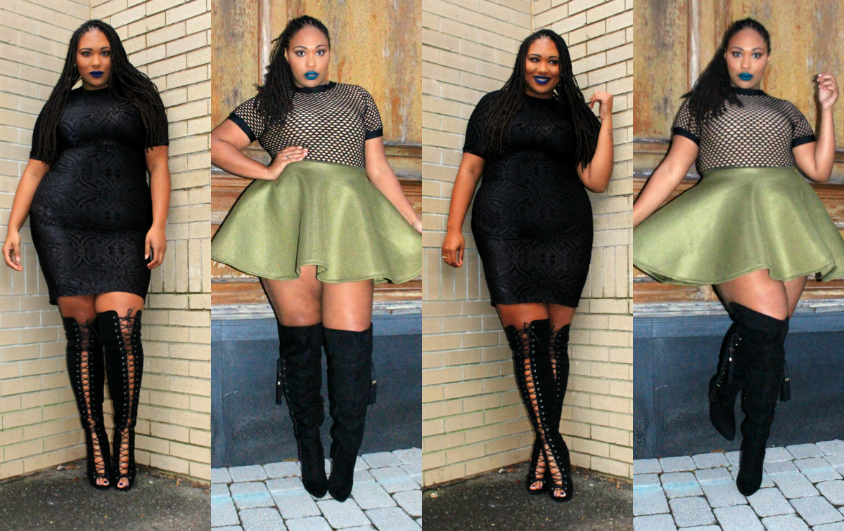 Plus Size Lace Up Thigh High Boots