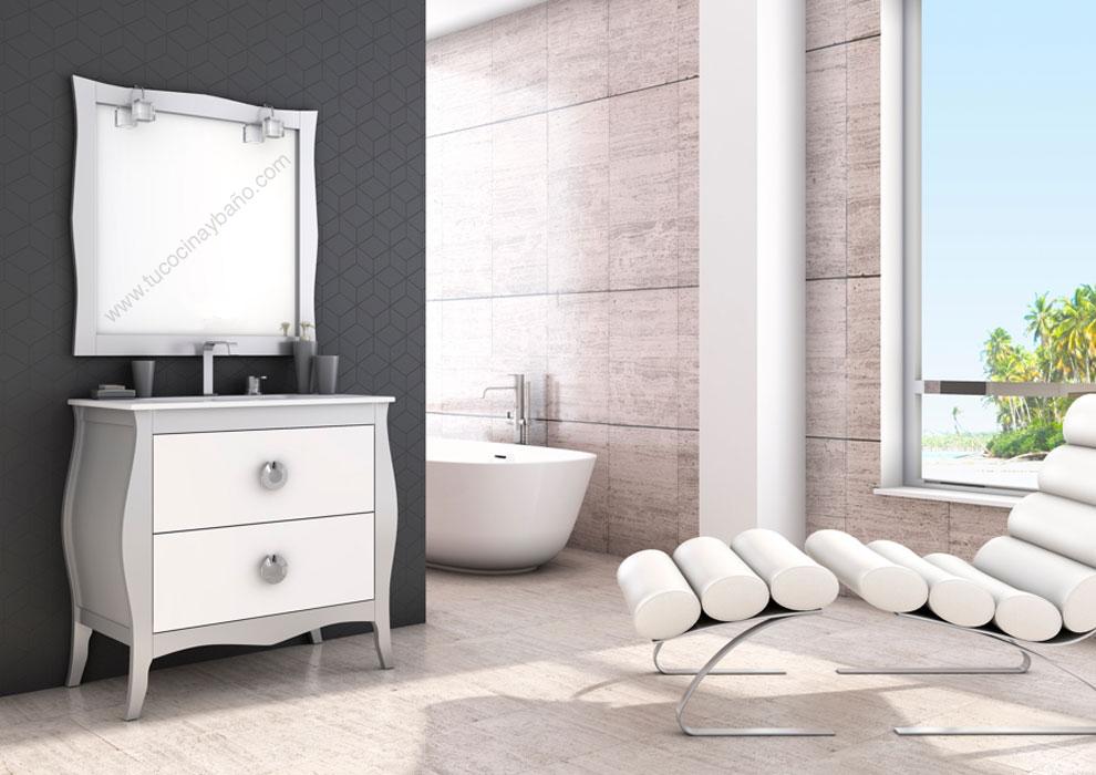 Mueble de ba o vintage mozart tu cocina y ba o - Muebles de bano blanco mate ...