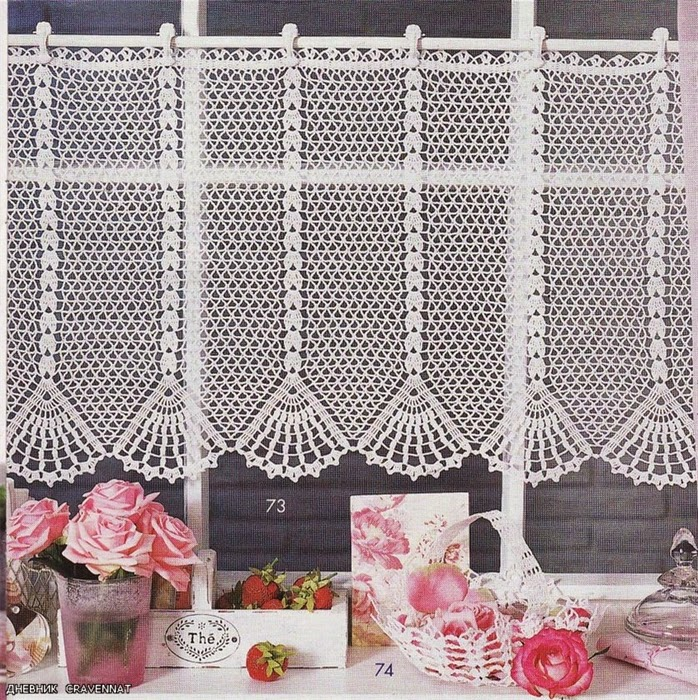 Crochet kitchen curtains 2