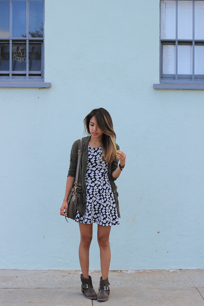 H&M Floral Dress, PS1 Medium Smoke, All Saints Suede Boots, Daniel Wellington Grace Glasgow